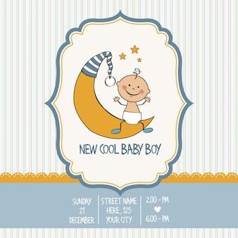 빈티지 베이비 보이 샤워 카드
