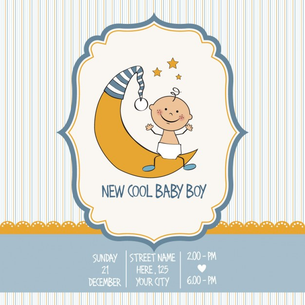 Vintage baby boy shower card