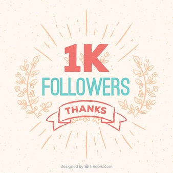 Vintage background of 1k followers with floral ornament