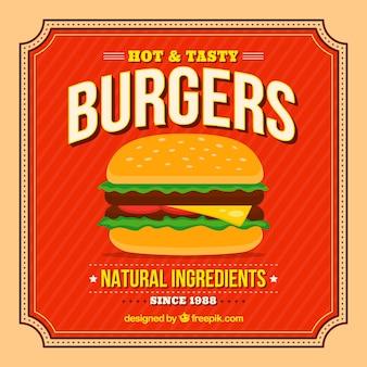 Vintage background of appetizing burger