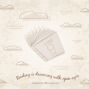 Vintage background of book and clouds