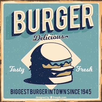 Vintage background of delicious burger