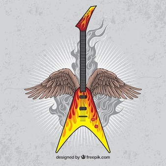 Vintage background of electric guitar with wings