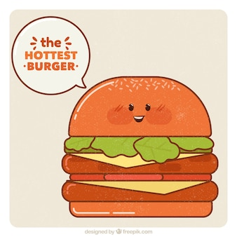 Vintage background of happy burger character