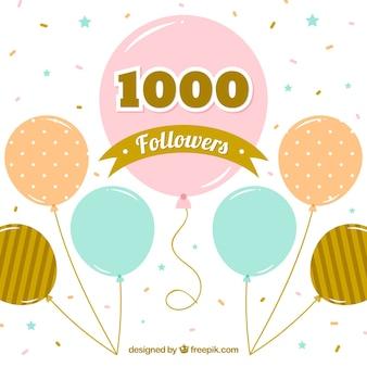 Урожай фон 1k последователей с воздушными шарами и конфетти