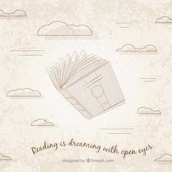책과 구름의 빈티지 배경