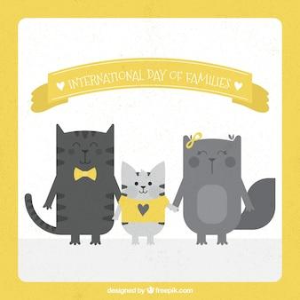 家族の国際的な日のための猫のヴィンテージ背景