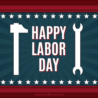 Vintage background of labor day with hammer and wrench