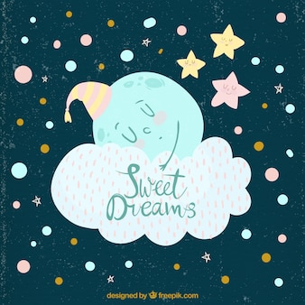 Vintage background of moon sleeping in a cloud