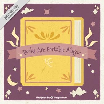 かわいい魔法の本のヴィンテージ背景