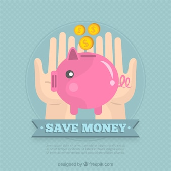 Vintage background of piggy bank with coins