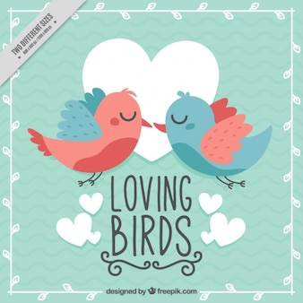 Vintage background of pretty birds in love