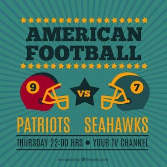 Vintage sfondo con caschi da football americano