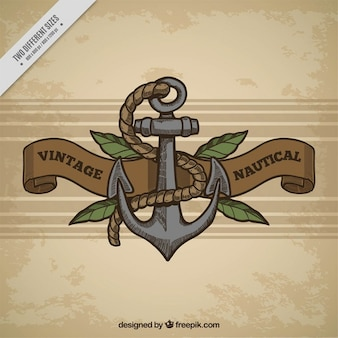 Vintage background with anchor and rope