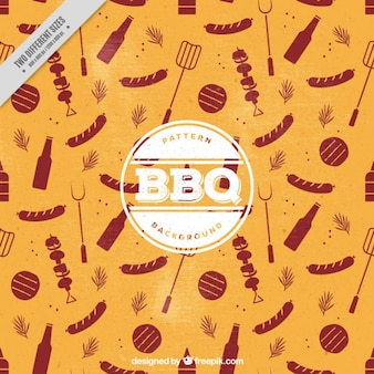 Vintage background with barbecue elements