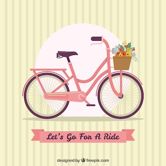 Vintage background with bike and ribbon