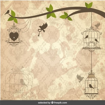 Vintage background with birds cages