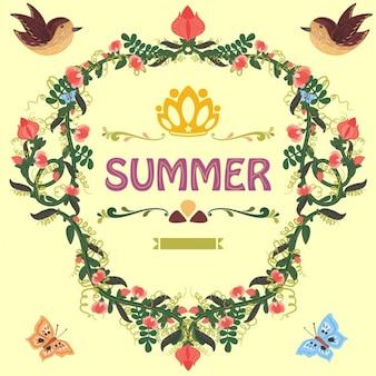 Retro doodle cornice floreale con pisello dolce e fiori