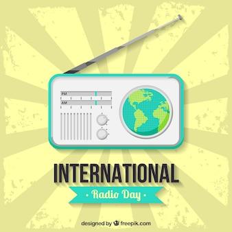 세계 라디오의 날에 대 한 파란색 세부 사항 가진 빈티지 배경