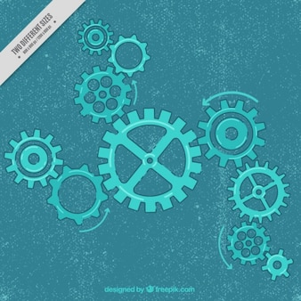 Vintage background with blue gears