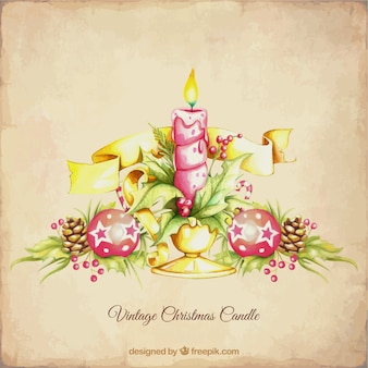 Vintage background with a christmas candle
