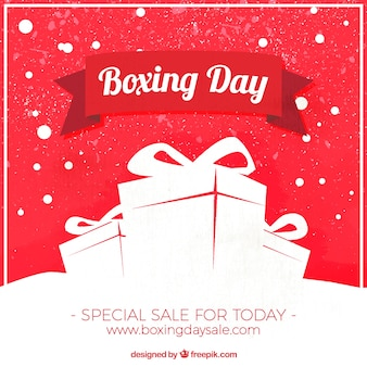 Vintage background with gifts for boxing day