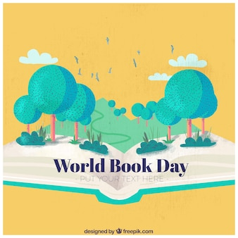 Vintage background with nature for world book day
