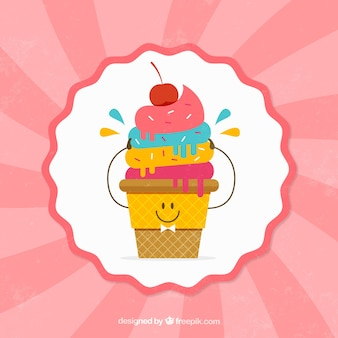 Vintage background with nice colorful ice cream