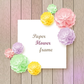 Vintage background with paper flower frame.