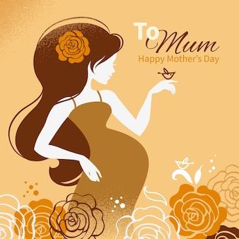 Старинный фон с силуэтом красивой беременной женщины. открытки с днем матери