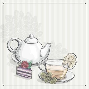 Старинный фон с чаем и тор