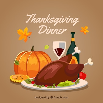 Vintage background with thanksgiving dinner