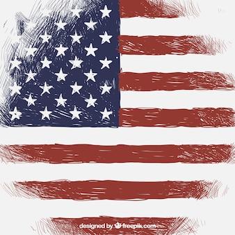 Урожай фон с флагом соединенных штатов