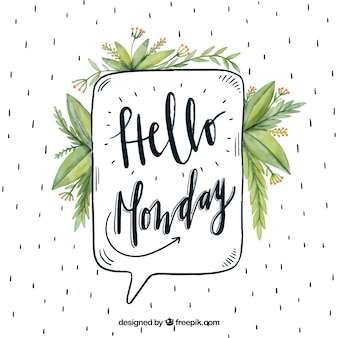 Vintage background with watercolor leaves and  hello monday  speech bubble
