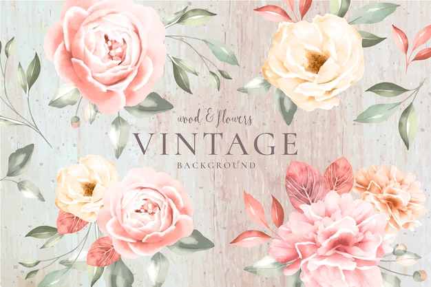 Vintage background with wood and romantic flowers