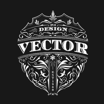 Vintage badge antique typography design vector