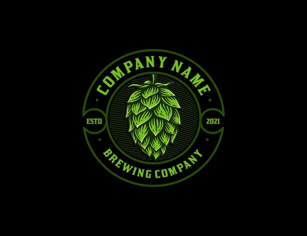 Vintage badge brewing company logo with handdrawn hop flower