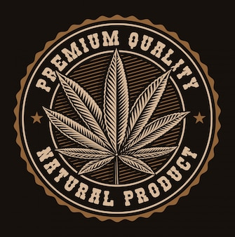 Vintage badge of a cannabis leaf.