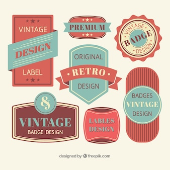 Vintage badge collection with flat design