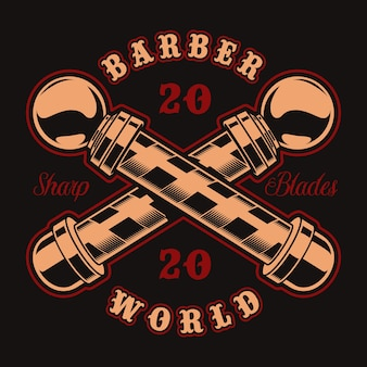 暗い背景に理髪店のテーマのビンテージバッジ。これは、ロゴ、シャツプリント、その他多くの用途に最適です。