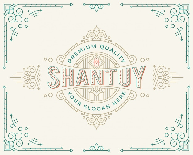 Vintage badge logo design with flourish ornament swirls 5