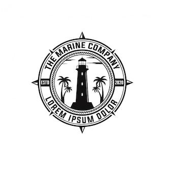 빈티지 배지 해양 회사 로고 디자인