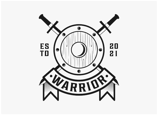 Vintage badge warrior logo inspiration