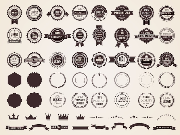 Vintage badges. emblem premium luxury logo in retro style arrows frames template badges collection