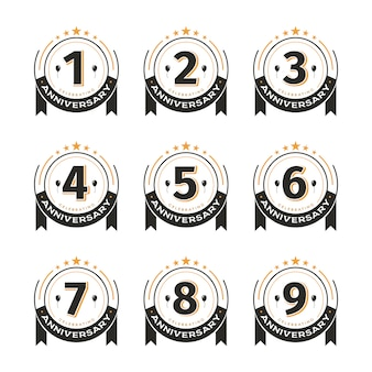 Vintage badges set of birthday template