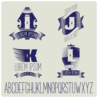 Vintage badges templates with alphabet set