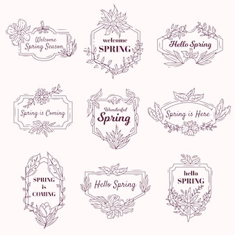 Vintage badges with spring thematic