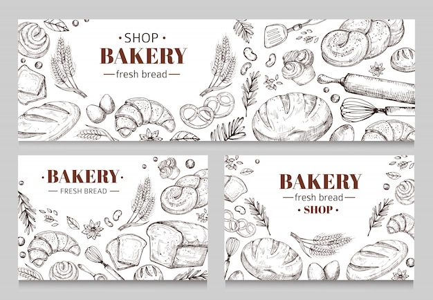 Vintage bakery banners with sketched bread  set