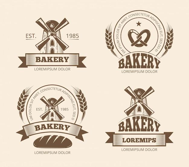 Vintage bakery and bread shop logos labels badges emblems