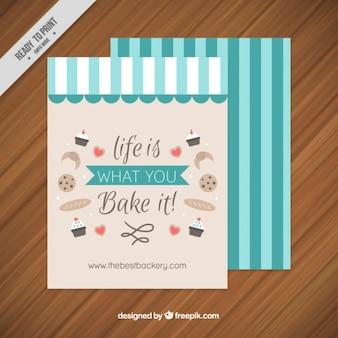 줄무늬와 영감 문구와 함께 빈티지 빵집 카드